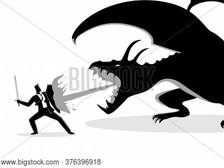 Business Concept Vector Illustration Of A Businessman Fighting A Dragon. Risk, Courage, Leadership I
