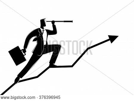 Business Concept Vector Illustration Of A Businessman Using Telescope On Graphic Chart. Concept For