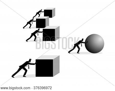 Business Concept Vector Illustration Of A Businessman Pushing A Sphere Leading The Race Against A Gr