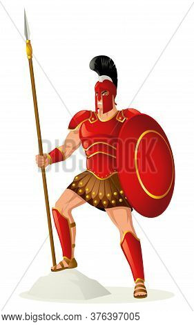 Greek God And Goddess Vector Illustration Series, Ares, God Of War. He Is One Of The Twelve Olympian