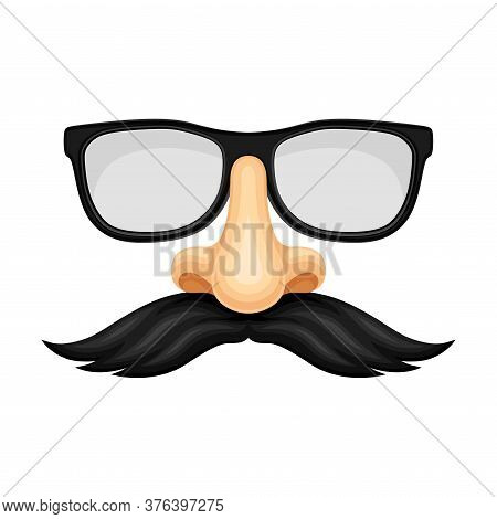 Glasses With Nose And Moustache As Carnival Or Party Mask Vector Illustration