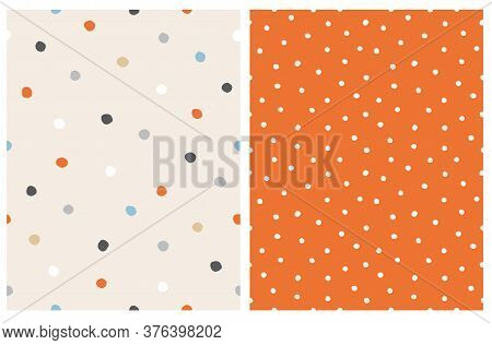 Simple Hand Drawn Irregular Dots Seamless Vector Pattern. Blue, Red, White And Black Dots On A Beige