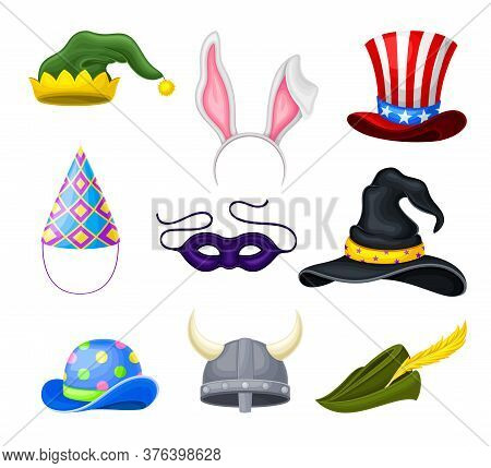 Funky Hats With Pointed Witch Hat And Green Jester Cap Vector Set