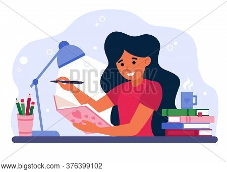 Girl Writing In Journal Or Diary Isolated Flat Vector Illustration. Cartoon Female Teenager Drawing