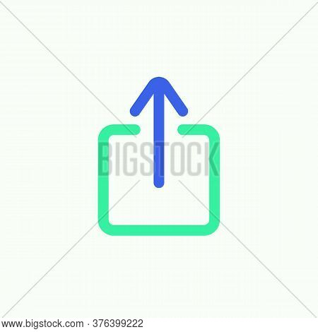 Arrow Upload Icon Vector, Filled Flat Sign, Data Upload Bicolor Pictogram, Green And Blue Colors. Sy