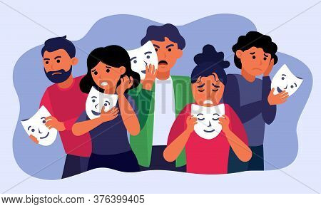 Depressed People Holding Face Masks And Hiding Emotions Isolated Flat Vector Illustration. Cartoon S