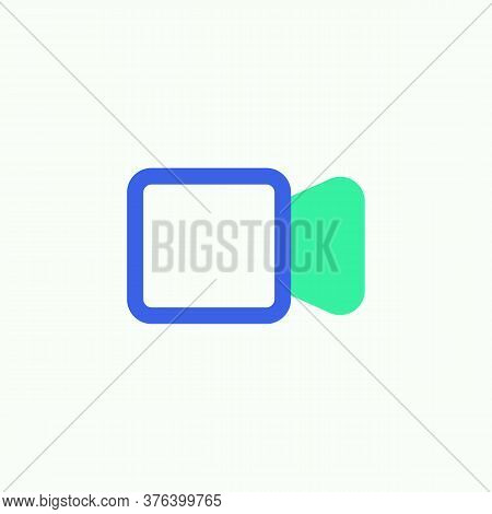 Video Mode Icon Vector, Filled Flat Sign, Video Camera Bicolor Pictogram, Green And Blue Colors. Sym