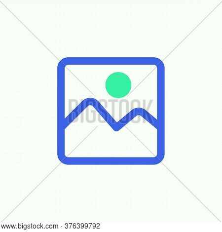 Picture Gallery Icon Vector, Filled Flat Sign, Image Gallery Bicolor Pictogram, Green And Blue Color