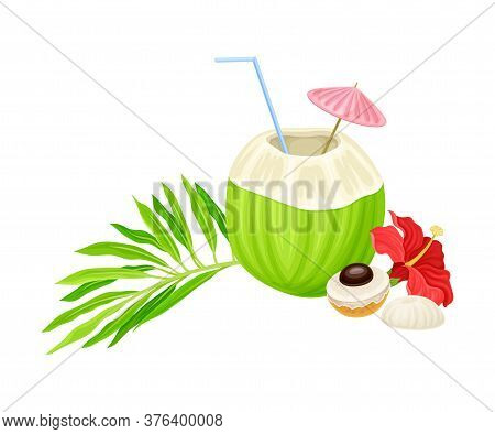 Cocktail With Straw In Coconut And Palm Leaves With Hibiscus Flower Hawaiian Vector Composition