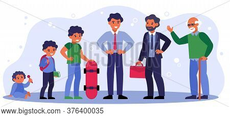 Life Cycle Of Man From Infant To Pensioner Isolated Flat Vector Illustration. Cartoon Male Character