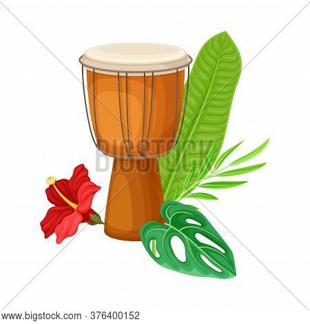 Wooden Drum With Green Palm Leaf And Hibiscus Flower Vector Illustration