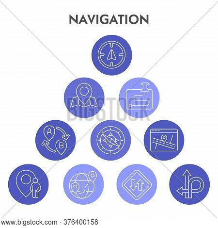 Modern Navigation Infographic Design Template. Gps Infographic Visualization Bubble Design On White