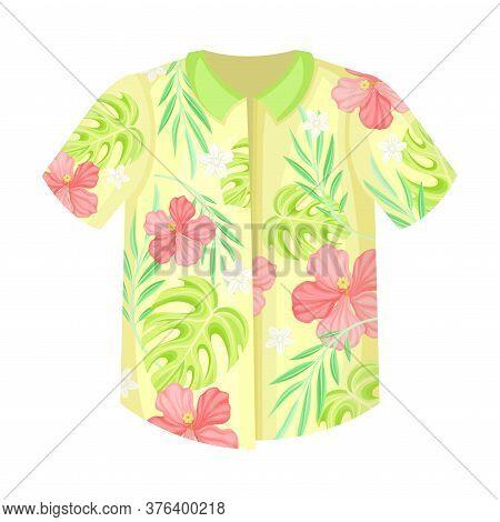 Bright Shirt With Short Sleeves And Exotic Flora As Hawaiian Clothing Vector Illustration