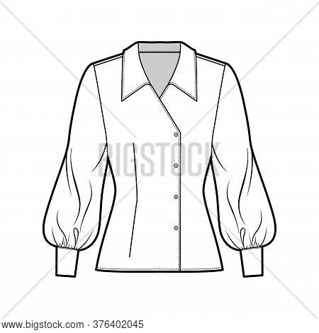Blouse Technical Fashion Illustration With Oversized Collar, Long Bishop Sleeves, Fitted Body, Doubl