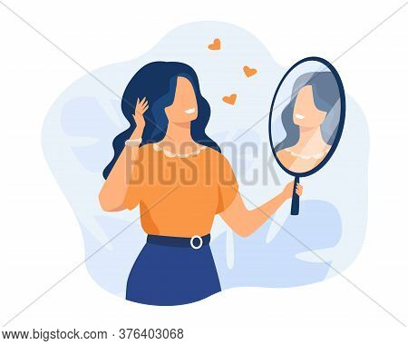 Happy Woman Looking At Herself In Mirror. Female Character Admiring Her Reflection. Can Be Used For