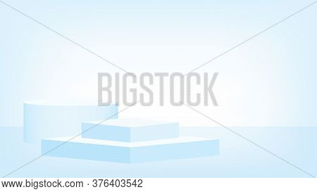 3d Stage Pedestal Award Soft Blue, Podium Stage Show For Product Place Or Presentation