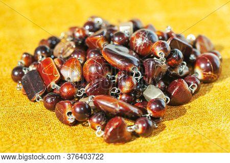 Old Fashioned Semiprecious Stone Beads , Close Up Image