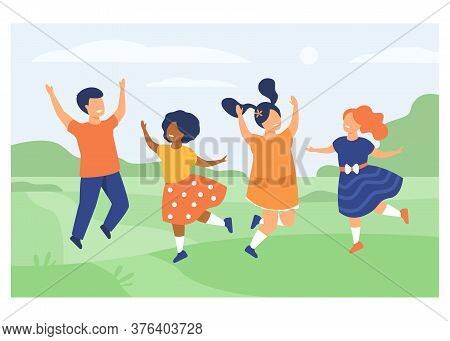 Diversity And Childhood Concept. Group Of Happy Diverse Kids Playing Together, Jumping On Grass, Hav