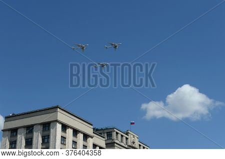 Moscow, Russia - June 24, 2020:a Group Of Tu-95ms Turboprop Strategic Bombers In The Sky Over Moscow