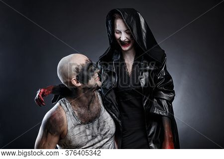 Mad Dirty Man And Scary Woman With Blood Hands