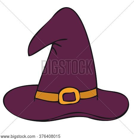 Wide-brimmed Pointed Witch Or Sorceress Hat, Vector Doodle Element For Halloween Celebration In Blac