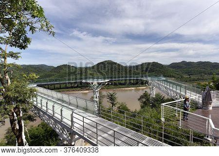 Chiang Khan,thailand-6 July,2020 : Beautiful Sky Walk At Viewpoint New Landmark Thailand Skywalk, At