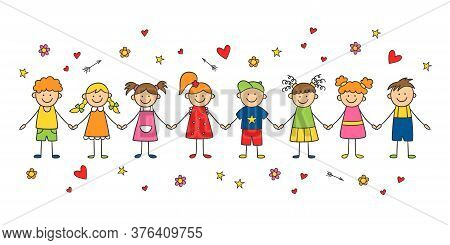 Group Of Funny Children Holding Hands. Happy Cute Doodle Kids. Isolated Vector Illustration In Hand
