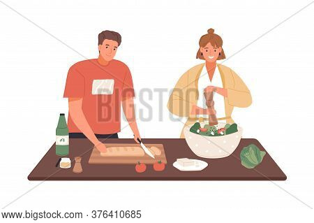 Happy Couple Cooking Vegetable Salad Together Vector Flat Illustration. Woman Applying Pepper To Dis