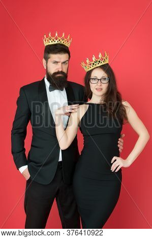 Famous Person. Attractive Queen And Big Boss Enjoy Luxury. Business Couple Wear Luxury Crowns. Rich