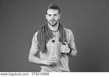 Sport For Better Life. Thirsty Man. Athlete Hold Bottle. Body Hydration. Refreshing Vitamin Drink Af