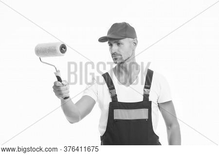 Paint Rolling. Decorator Hold Paint Roller. Wall Painter Isolated On White. Color Man In Working Clo