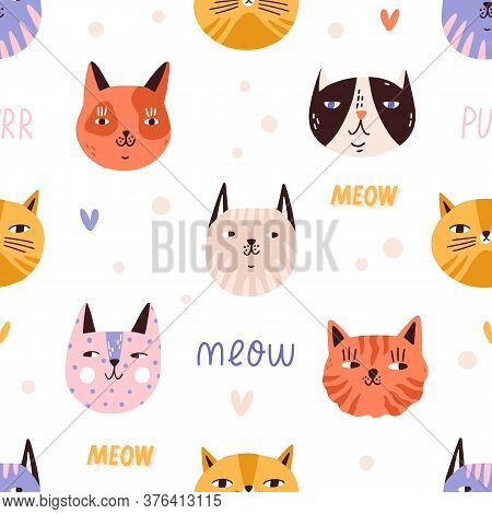 Funny Childish Colorful Cat Muzzles Seamless Pattern. Portraits Of Cute Spotted And Striped Domestic