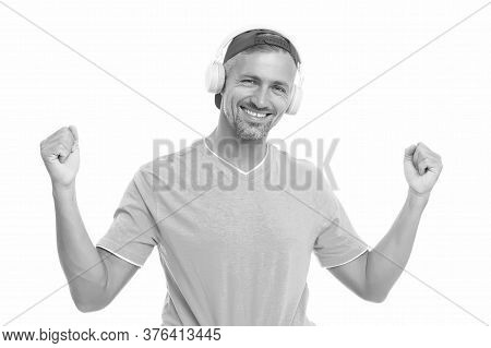 Guy In Cap Listen Music Stereo Headphones. Good Mood. Modern Wireless Headphones. Perfect Sound Conc