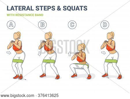 Lateral Walk And Squats With Resistance Band Girl Silhouettes. Side Steps And Squating Home Workout