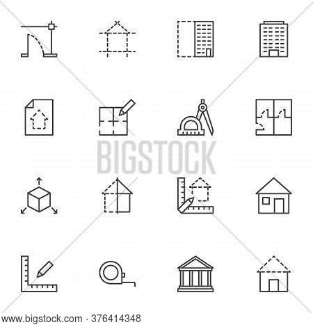 Architecture Line Icons Set, Outline Vector Symbol Collection, Linear Style Pictogram Pack. Signs, L