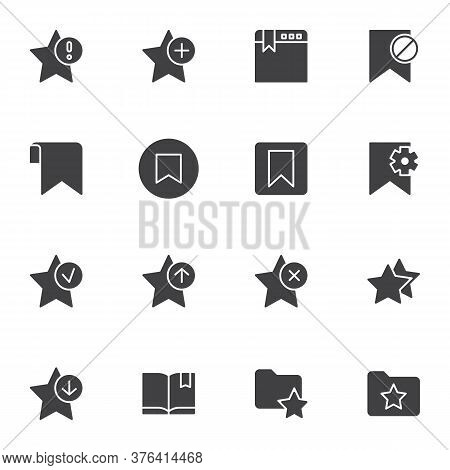 Bookmark Vector Icons Set, Modern Solid Symbol Collection, Filled Style Pictogram Pack. Signs, Logo