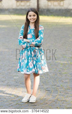 Style Is Whatever Gives Joy. Happy Child Enjoy Summer Style. Fashion Look Of Little Girl. Style And