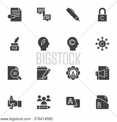 Copywriting Related Vector Icons Set, Modern Solid Symbol Collection, Filled Style Pictogram Pack. S