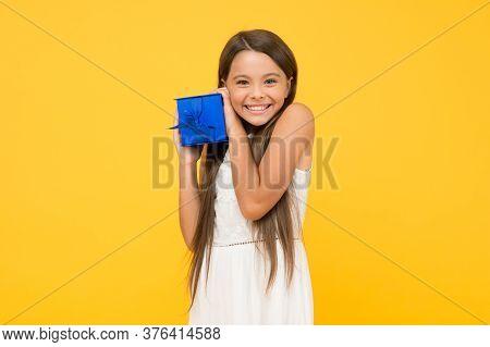 Feeling So Happy. Shopping. Portrait Excited Girl. Celebrate Birthday. Birthday Gift. Feeling Gratef