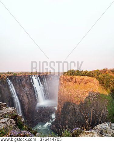 Victoria Falls Top View In Zambia Under White Sky