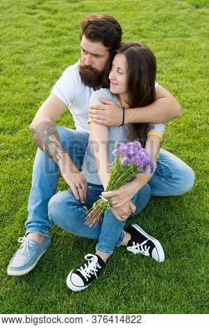 Weekend Away. Couple In Love Enjoy Dating On Summer Day. Bearded Man And Sensual Woman On Date. Roma