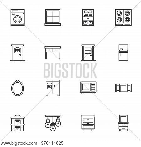 Household Furniture Line Icons Set, Outline Vector Symbol Collection, Linear Style Pictogram Pack. S