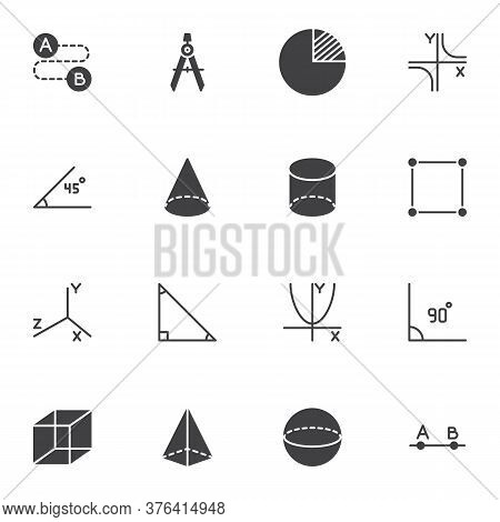 Geometry Shapes Vector Icons Set, Algebra And Geometry Modern Solid Symbol Collection, Filled Style