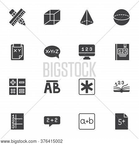 Math And Algebra Vector Icons Set, Modern Solid Symbol Collection, Filled Style Pictogram Pack. Sign
