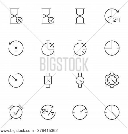 Clock Time Line Icons Set, Outline Vector Symbol Collection, Linear Style Pictogram Pack. Signs, Log
