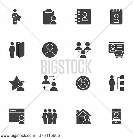 User Contact Vector Icons Set, Modern Solid Symbol Collection, Filled Style Pictogram Pack. Signs, L