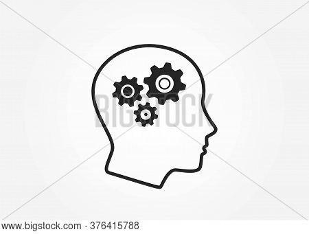 Head With Gears Icon. Mind, Intelligence, Brainstorming And Mental Work Symbol. Simple Style Infogra