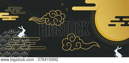Banner For Mid Autumn Festival. Asian Harvest Traditional Festival. Chuseok, Mid Autumn Korea Festiv