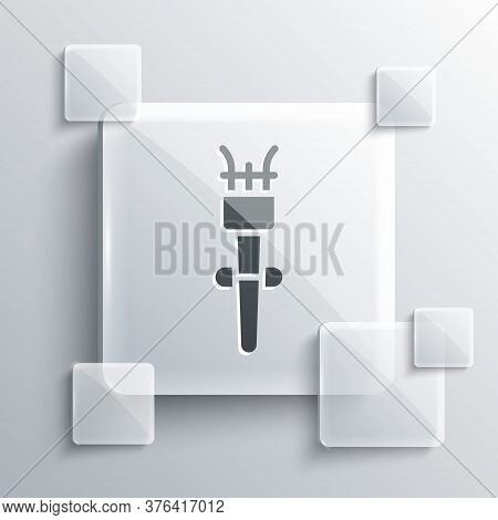Grey Torch Flame Icon Isolated On Grey Background. Symbol Fire Hot, Flame Power, Flaming And Heat. S