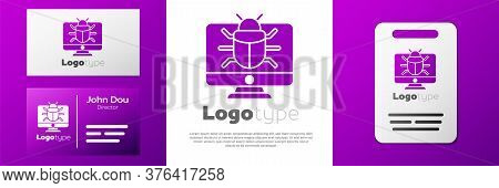 Logotype System Bug On Monitor Icon Isolated On White Background. Code Bug Concept. Bug In The Syste